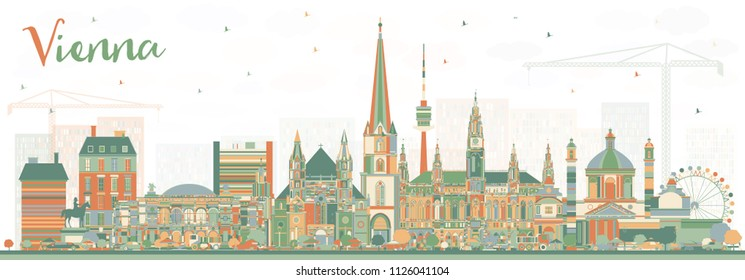 Vienna Austria City Skyline with Color Buildings. Vector Illustration. Business Travel and Tourism Concept with Historic Architecture. Vienna Cityscape with Landmarks.