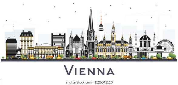 Vienna Austria City Skyline with Color Buildings Isolated on White. Vector Illustration. Business Travel and Tourism Concept with Historic Architecture. Vienna Cityscape with Landmarks.