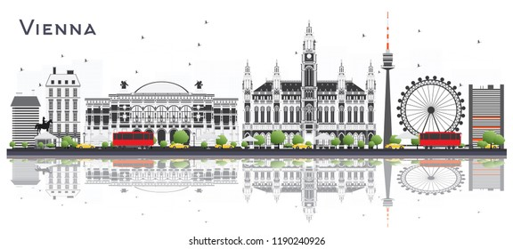 Vienna Austria City Skyline with Color Buildings and Reflections Isolated on White. Vector Illustration. Business Travel and Tourism Concept with Historic Architecture. Vienna Cityscape with Landmarks