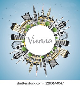 Vienna Austria City Skyline with Color Buildings, Blue Sky and Copy Space. Vector Illustration. Business Travel and Tourism Concept with Historic Architecture. Vienna Cityscape with Landmarks.