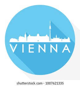 Vienna Austria Europe Flat Icon Skyline Silhouette Design City Vector Art Famous Buildings