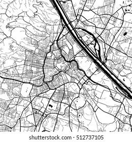 Vienna, Austria, Monochrome Map Artprint, Vector Outline Version, ready for color change, Separated On White