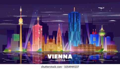 Vienna ( Austria ) skyline with panorama in white background. Vector Illustration. Business travel and tourism concept with modern buildings. Image for presentation, banner, web site.