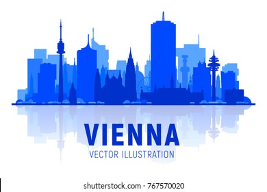 Vienna ( Austria ) skyline silhouette with panorama in white background. Vector Illustration. Business travel and tourism concept with modern buildings. Image for presentation, banner, web site.