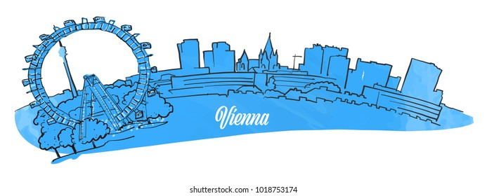 Vienna Citiyscape Panorama, hand drawn outline sketch for greeting card prints and travel marketing