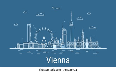 Vienna city, Line Art Vector illustration with all famous buildings. Linear Banner with Showplace. Composition of Modern buildings, Cityscape. Vienna buildings set
