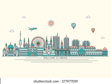 Vienna line detailed skyline. Travel and tourism background. Vector background. line illustration. Line art style