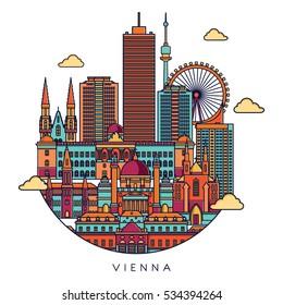 Vienna line detailed skyline. Travel and tourism background. Vector background. line illustration. Line art style