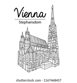 Vienna sightseeing illustration. Outline drawing, coloring book page. Stephansdom. St. Stephen's Cathedral.