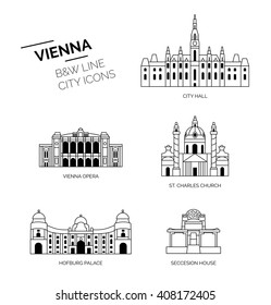 Vienna sightseeings. City lineicons, icons black and white.