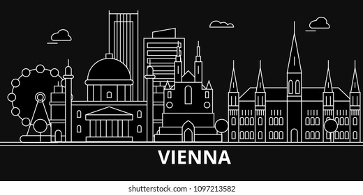 Vienna silhouette skyline. Austria - Vienna vector city, austrian linear architecture, buildings. Vienna travel illustration, outline landmarks. Austria flat icons, austrian line banner