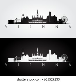 Vienna skyline and landmarks silhouette, black and white design, vector illustration.