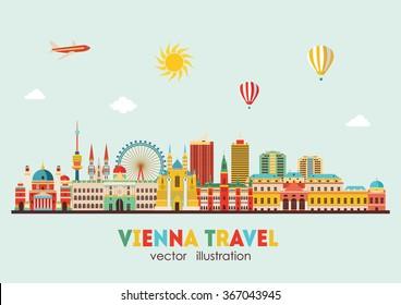 Vienna skyline. Vector illustration