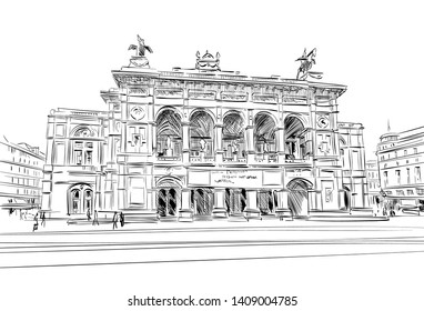 Vienna State Opera. Vienna, Austria. Hand drawn sketch vector illustration.