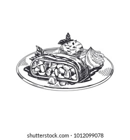 Viennese apple strudel. Beautiful vector hand drawn austrian food Illustration. Detailed retro style images. Vintage sketch element for labels and cards design.