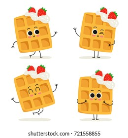 Viennese waffles with whipped cream and strawberries. Cute cartoon fast food dessert vector character set isolated on white