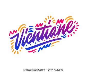 Vientiane handwritten city name.Modern Calligraphy Hand Lettering for Printing,background ,logo, for posters, invitations, cards, etc. Typography vector.
