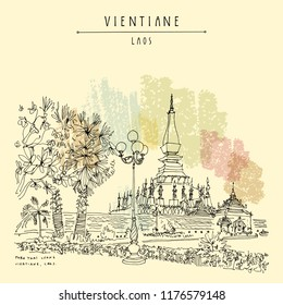 Vientiane, Laos. Gold Stupa at Wat Pha That Luang (Great Stupa), the most important national monument in Laos. Vintage handdrawn travel sketch postcard. Vector illustration