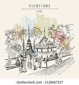 Vientiane, Laos, Southeast Asia. Wat Mixay or Temple of Victory, beautiful Buddhist temple. Unique statues of guards at the entrance gate. Vintage handdrawn travel sketch postcard. Vector illustration
