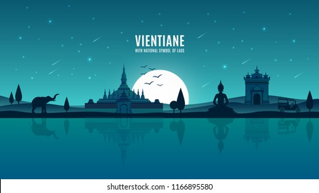 Vientiane moonlight background with national symbols of Laos, Southeast Asia landmark, Flat design Thatluang & Patuxay poster concept under fullmoon.