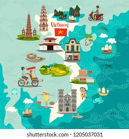 Vietnam abstract map, hand drawn vector illustration. Travel illustration of Vietnam with landmarks icons. Poster for children, art travel card, vietnamese architecture