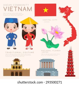 Vietnam : Asean Economic Community (AEC) Infographic with Traditional Costume, National Flower and Tourist Attractions : Vector Illustration EPS10