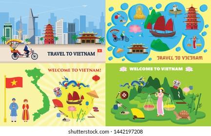 Vietnam banner set. Flat illustration of vietnam vector banner set for web design