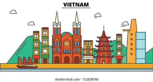Vietnam, . City skyline: architecture, buildings, streets, silhouette, landscape, panorama, landmarks. Editable strokes. Flat design line vector illustration concept. Isolated icons set