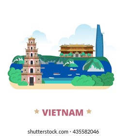 Vietnam country flat cartoon style historic place web vector illustration. World travel Asia collection. Bitexco Financial Tower City Imperial aka Complex Hue Monuments Ha Long Bay Thien Mu Pagoda.