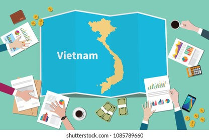 vietnam country growth nation team discuss with fold maps view from top vector illustration