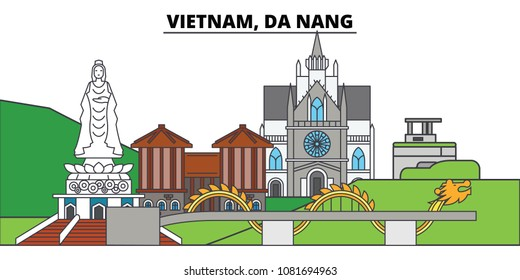 Vietnam, Da Nang. City skyline, architecture, buildings, streets, silhouette, landscape, panorama, landmarks. Editable strokes. Flat design line vector illustration concept. Isolated icons