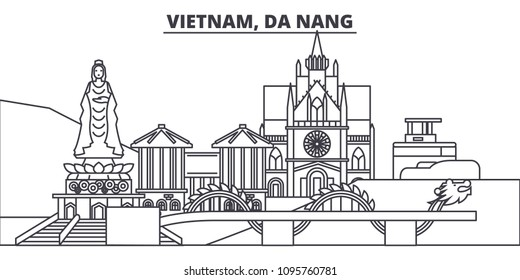 Vietnam, Da Nang line skyline vector illustration. Vietnam, Da Nang linear cityscape with famous landmarks, city sights, vector landscape.