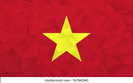 Vietnam flag - geometric rumpled triangular low poly style gradient graphic, polygonal design for your. Vector illustration eps 10.