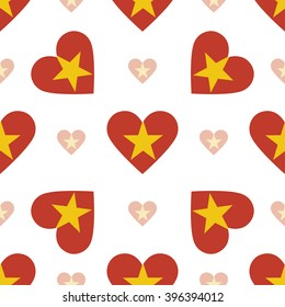 Vietnam flag heart seamless pattern. Patriotic Vietnam flag background. Country flag in the shape of heart. Vector seamless pattern.