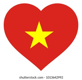 vietnam flag in heart vector illustration sign. Flag of vietnam in the shape of Heart with contrasting contour, symbol of love for his country or valentine day, patriotism.