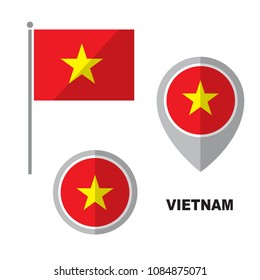 Vietnam flag and map pointer isolated on white background. Socialist Republic of Vietnam national symbol. Vector flat design collection.