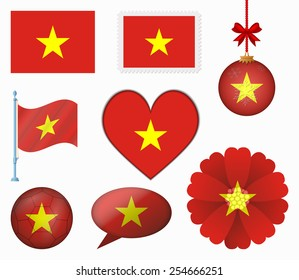 Vietnam flag set of 8 items vector