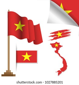 vietnam flags special vector illustration