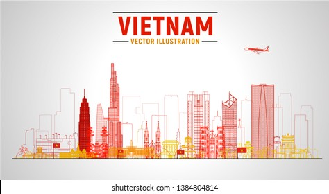 Vietnam (Ho Chi Minh, Hanoi and other) skyline with panorama at sky background. Vector Illustration. Business travel and tourism concept with modern buildings. Image for banner or web site.
