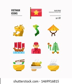 Vietnam icon set 1. Include flag, landmark, people, food and more. Flat icons Design. vector illustration