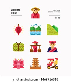 Vietnam icon set 3. Include landmark, people, food, culture and more. Flat icons Design. vector illustration