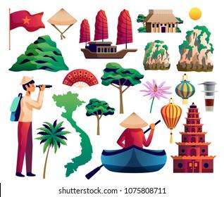 Vietnam isolated icons set of vietnamese landmarks traditional cultural symbols national flag vector illustration