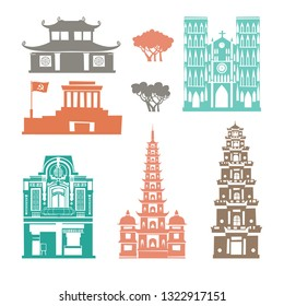 Vietnam landmark vector set. Contour cartoon icon. Travel collection about Vietnam. Vietnamese  architecture. Asian travel attraction, isolated on white background