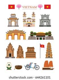 Vietnam Landmarks Architecture Building Object Set, Famous Place, Travel and Tourist Attraction