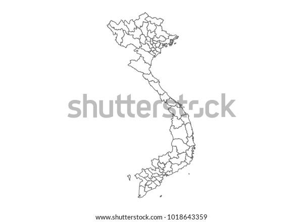 Vietnam Map Country Borders Thin Black Stock Vector (Royalty Free