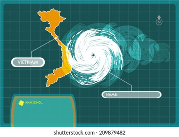 Vietnam Map with Eye of Typhoon, Cyclone or Storm Vector. Editable Clip Art.