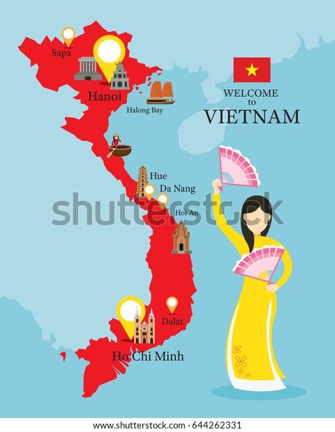 Vietnamin Kartta Ja Maamerkit Perinteisten Vaatteiden
