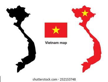 Vietnam map vector, Vietnam flag vector
