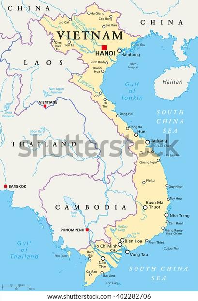Vietnamin Poliittinen Kartta Paaoman Hanoi Kansalliset