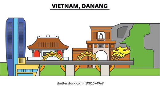 Vietnam, Reno, Danang. City skyline, architecture, buildings, streets, silhouette, landscape, panorama, landmarks. Editable strokes. Flat design line vector illustration concept. Isolated icons